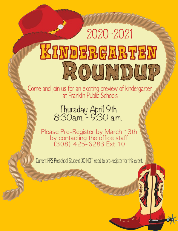 Kindergarten Roundup Thursday April 9th 8:30-9:30 am