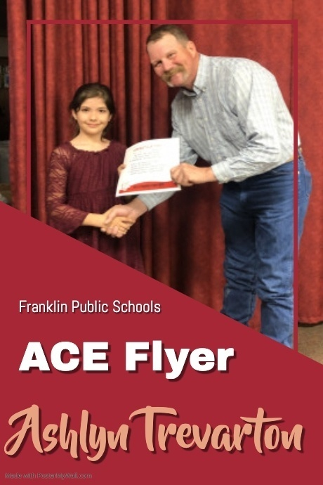 Ashlyn Trevarton receiving the March Ace Flyer Award